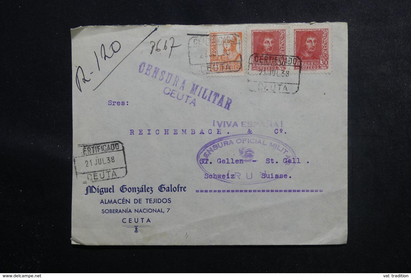 ESPAGNE - Enveloppe En Recommandé De Ceuta Pour La Suisse En 1938 Avec Contrôle De Irun Et De Ceuta - L 48093 - Republikanische Zensur