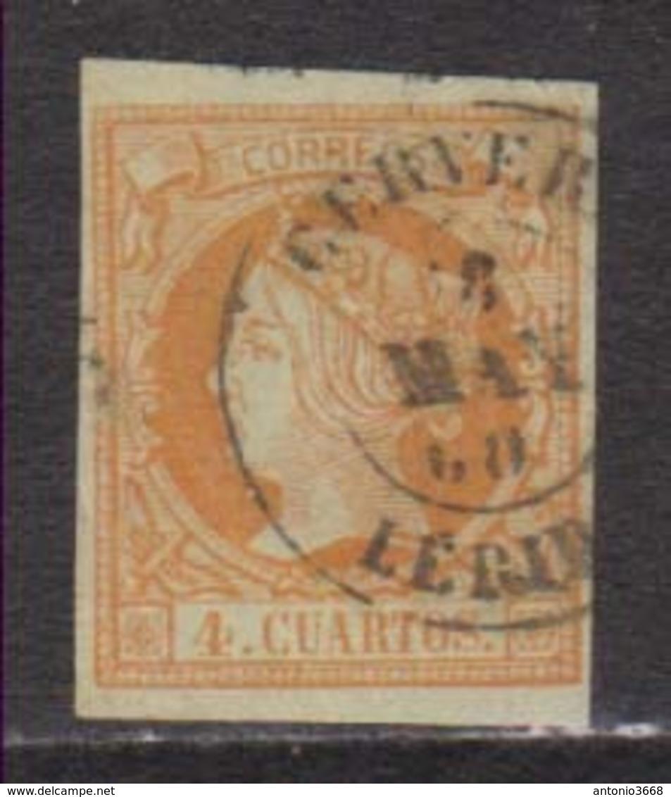Año 1860 Edifil 52 Sello 4c Isabel II Matasellos Cervera Lerida Tipo II - Used Stamps