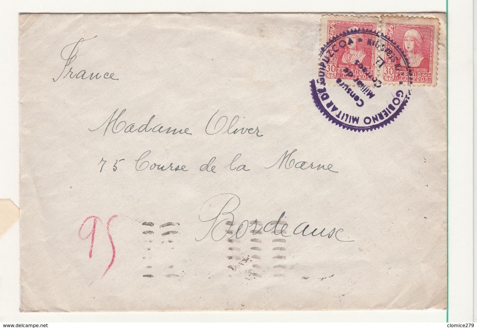 Espagne     Enveloppe  1939  Vers La France  Censure San Sebastian - Bolli Di Censura Repubblicana