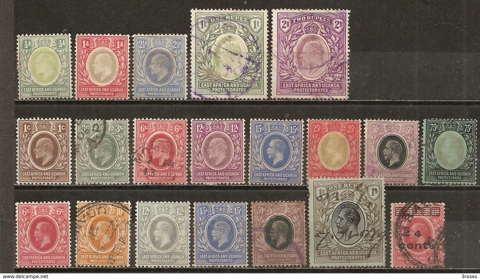 Eats Africa & Uganda Protectorate 1903/1912 Nice Range With High Value Items (incl 1R & 2R) - Protectorados De África Oriental Y Uganda