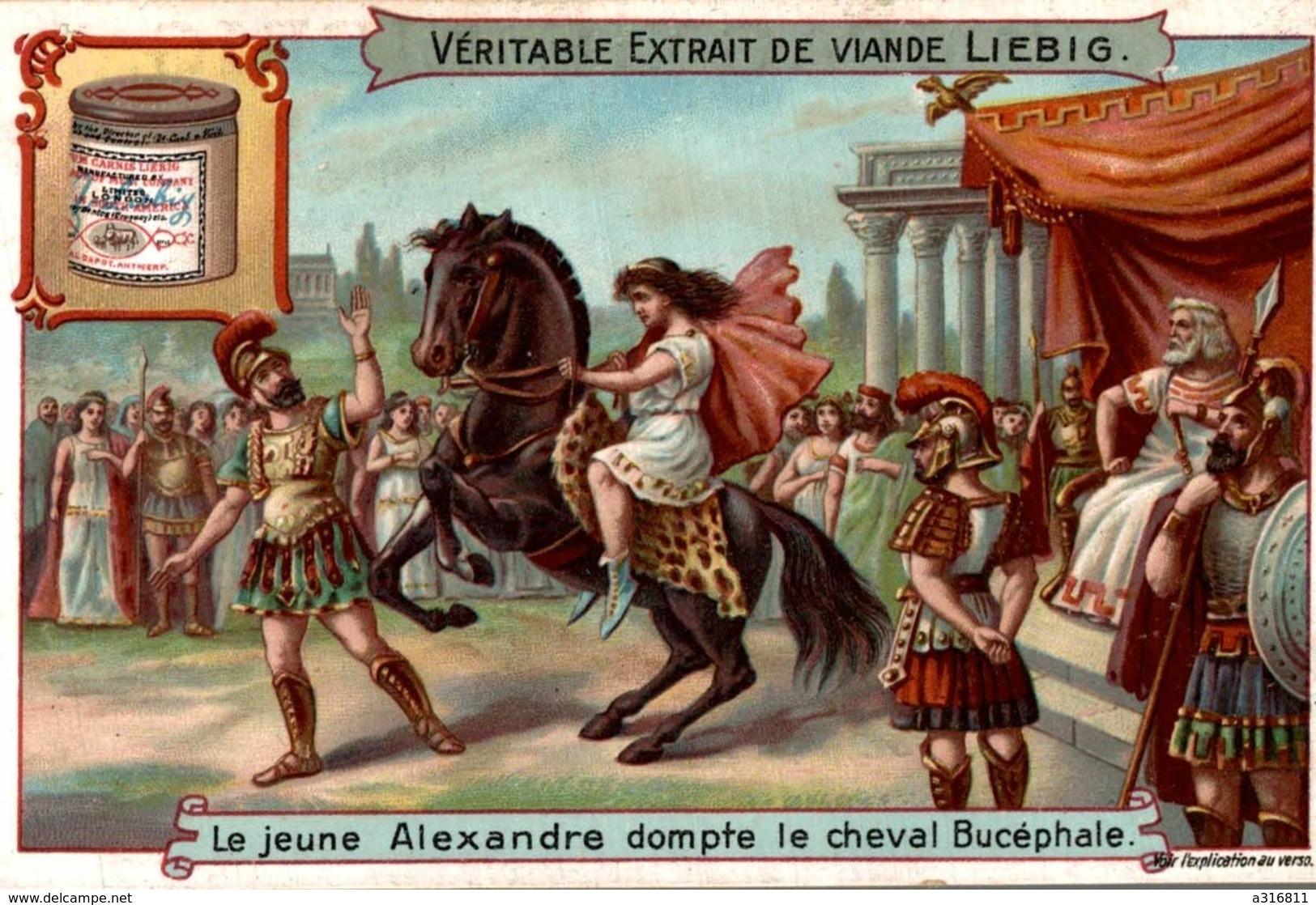 LIEBIG LE JEUNE ALEXANDRE DOMPTE LE CHEVAL BUCEPHALE VOIR SCAN VERSO - Liebig