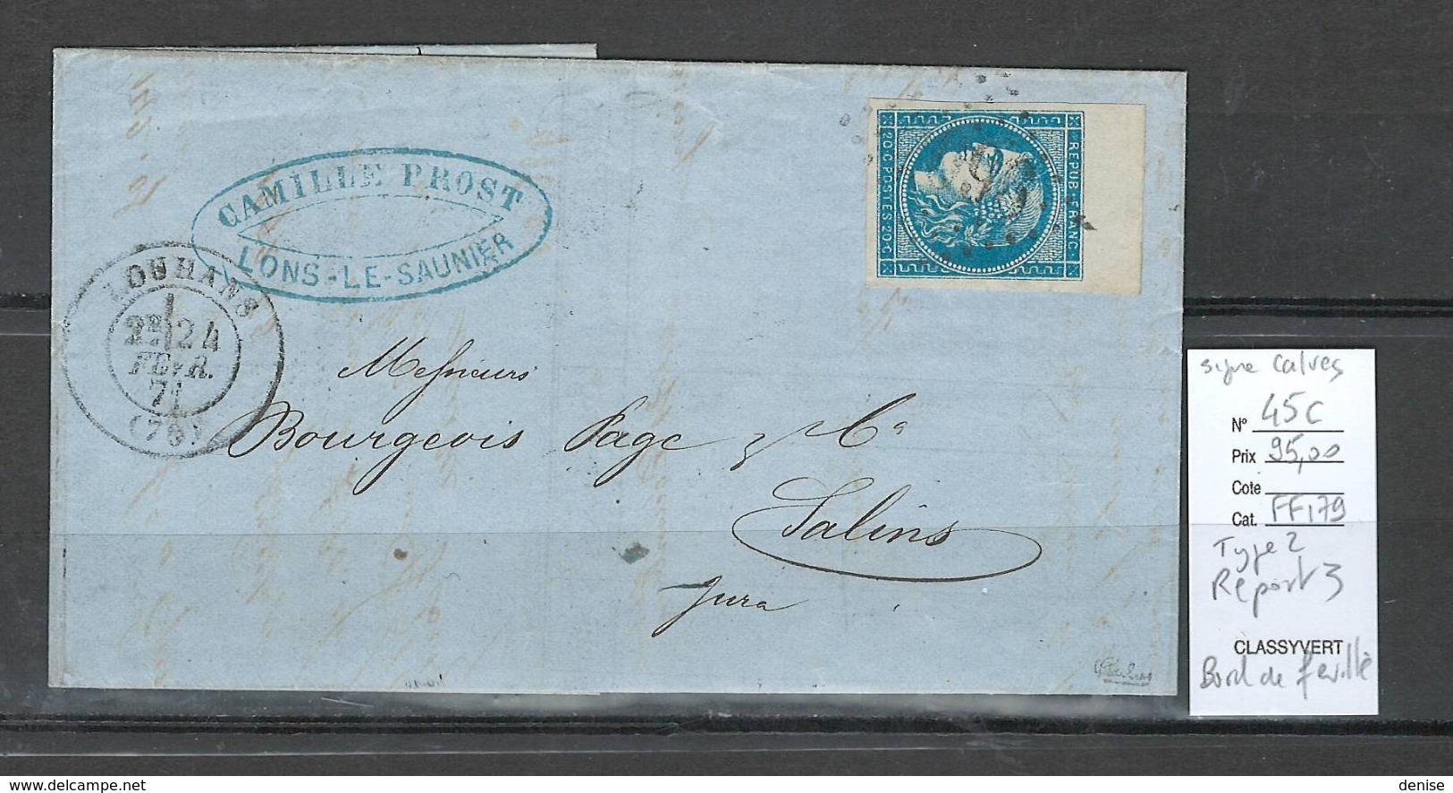 France - Lettre Louhans - Saone Et Loire - Yvert 45c - BORD DE FEUILLE - SIGNE CALVES -1871 - 1870 Emission De Bordeaux