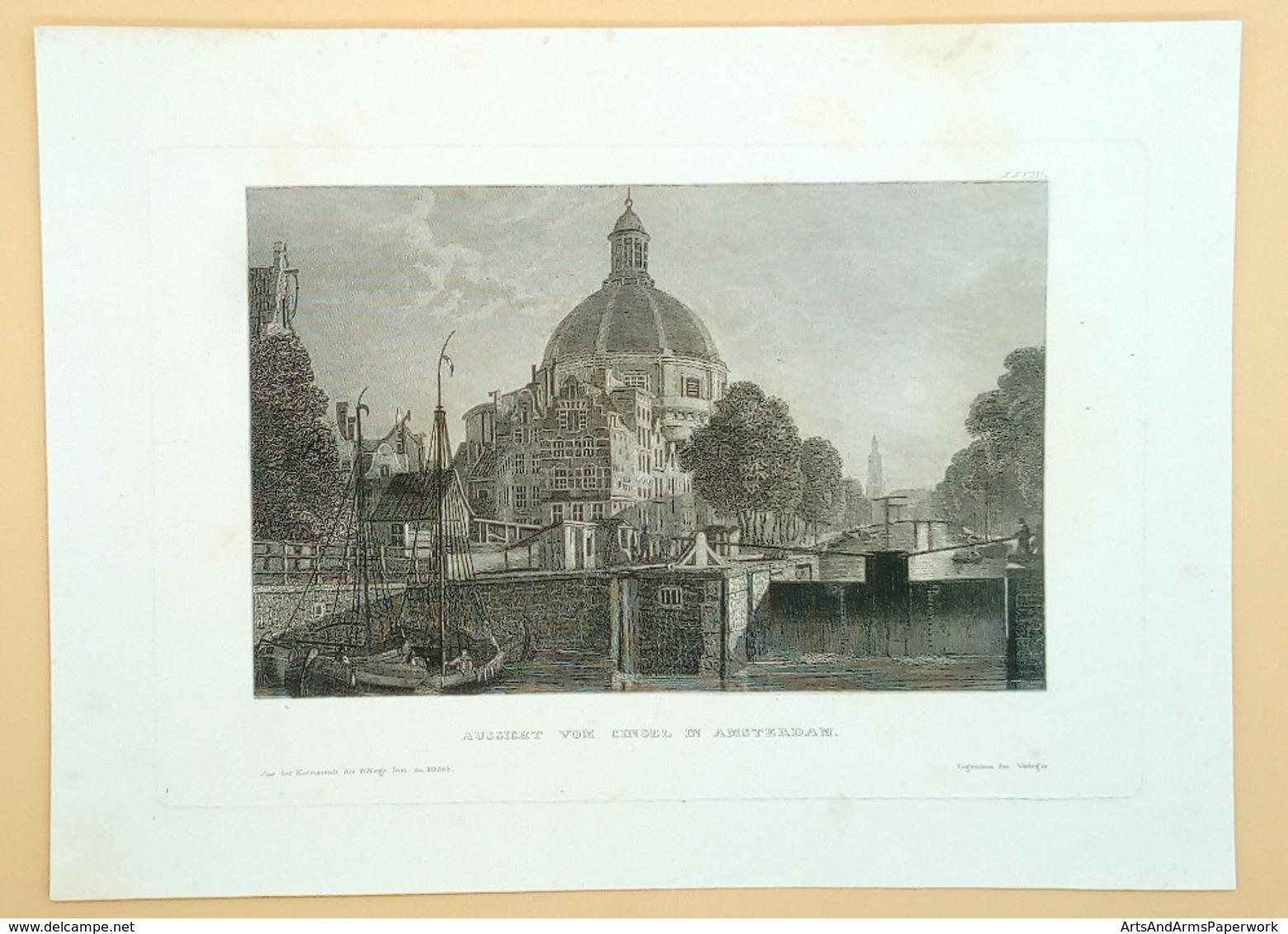 Amsterdam Lutherse Kerk En Singel - Prenten & Gravure