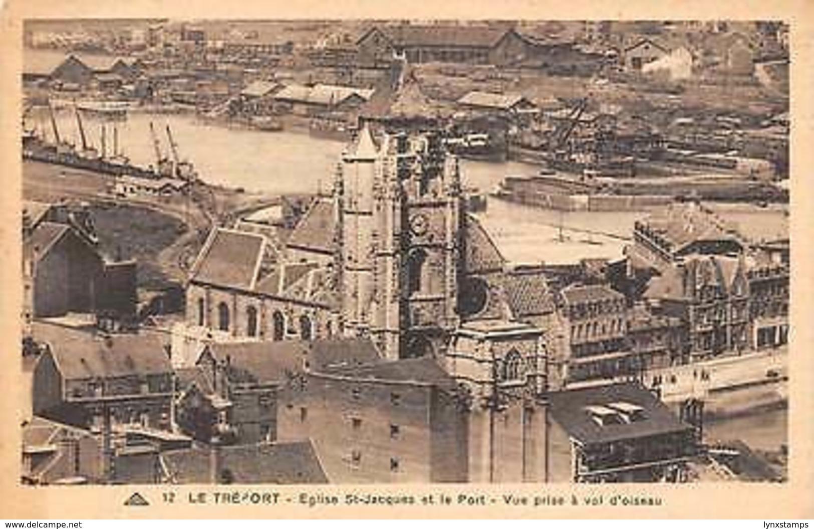 France Le Treport - Eglise St-Jacques Et Le Port, Vue Prise A Vol D'oiseau CPA - France