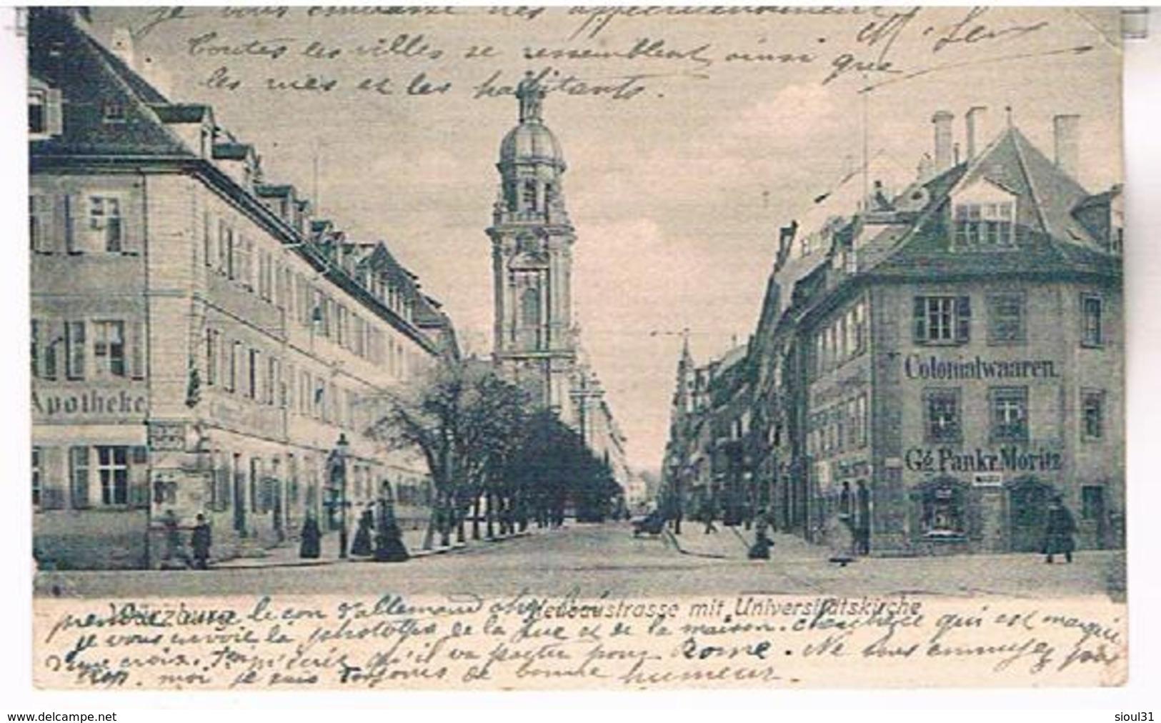NEUBAUSTRASS  MIT  UNIVERSIUTSKIRCHE    BE     AL567 - Wuerzburg