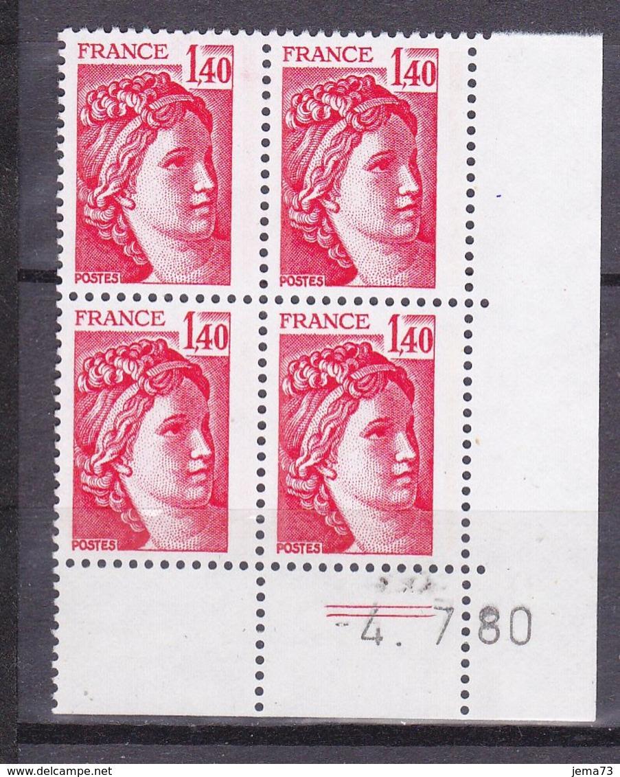 N° 2102 Type Sabine Un Bloc De 4 Timbres Neuf Impeccable Coins Datés 4.7.80 - Esquina Con Fecha