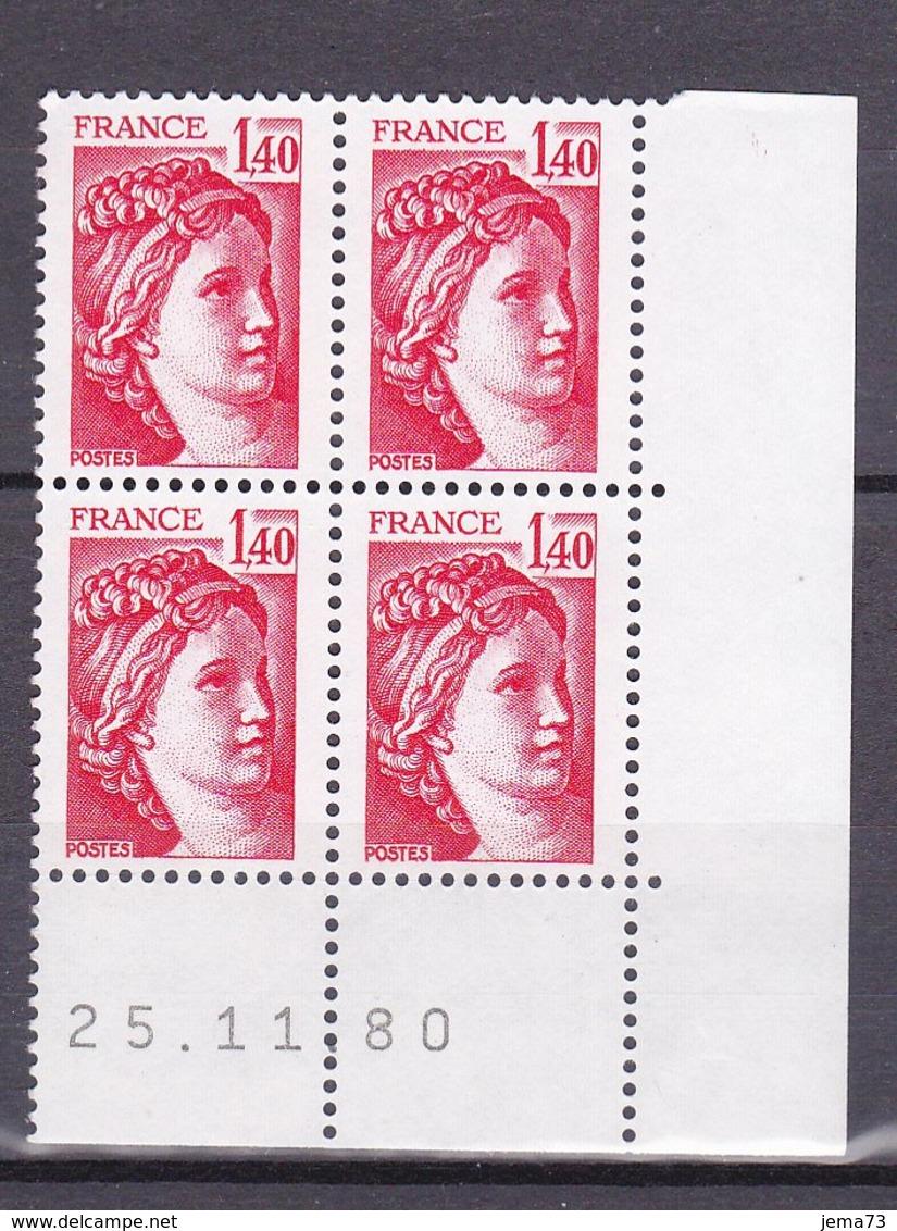 N° 2102 Type Sabine Un Bloc De 4 Timbres Neuf Impeccable Coins Datés 25.11.80 - Esquina Con Fecha