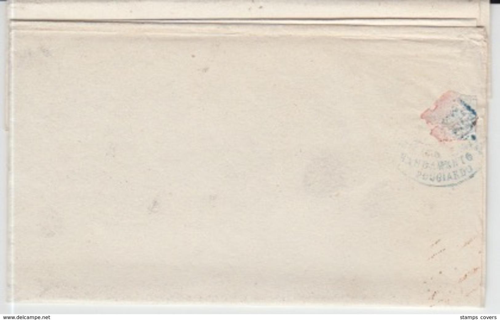 ITALIA USED COVER 07/03/1863 POGGIARDO TO MINERVINO DI LECCE - ...-1850 Préphilatélie
