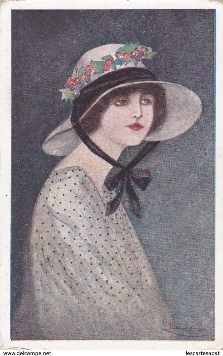 Illustrateur Italien - Portrait De Femme Avec Chapeau  - D.G.M. Série N°133.3 (lot Pat 89) - Künstlerkarten