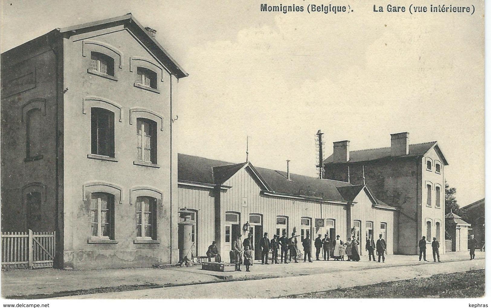 MOMIGNIES : La Gare - Vue Intérieure - Edit. E. Douniau,Cartes En Gros, Chimay - Cachet De La Poste 1910 - Momignies