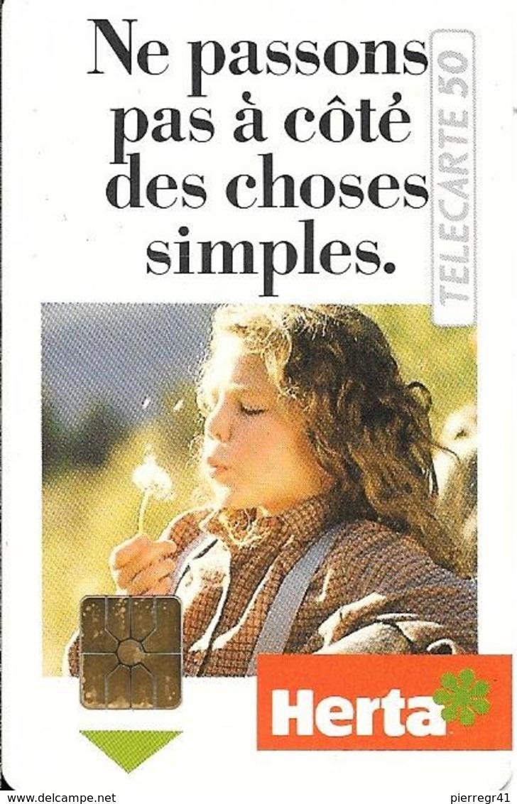 CARTE-PUCE-PRIVEE-PUBLIC- 50U-EN-429-GemA-08/92-HERTA-Série A-R°Glacé-UTILISE-LUXE-RARE - Francia