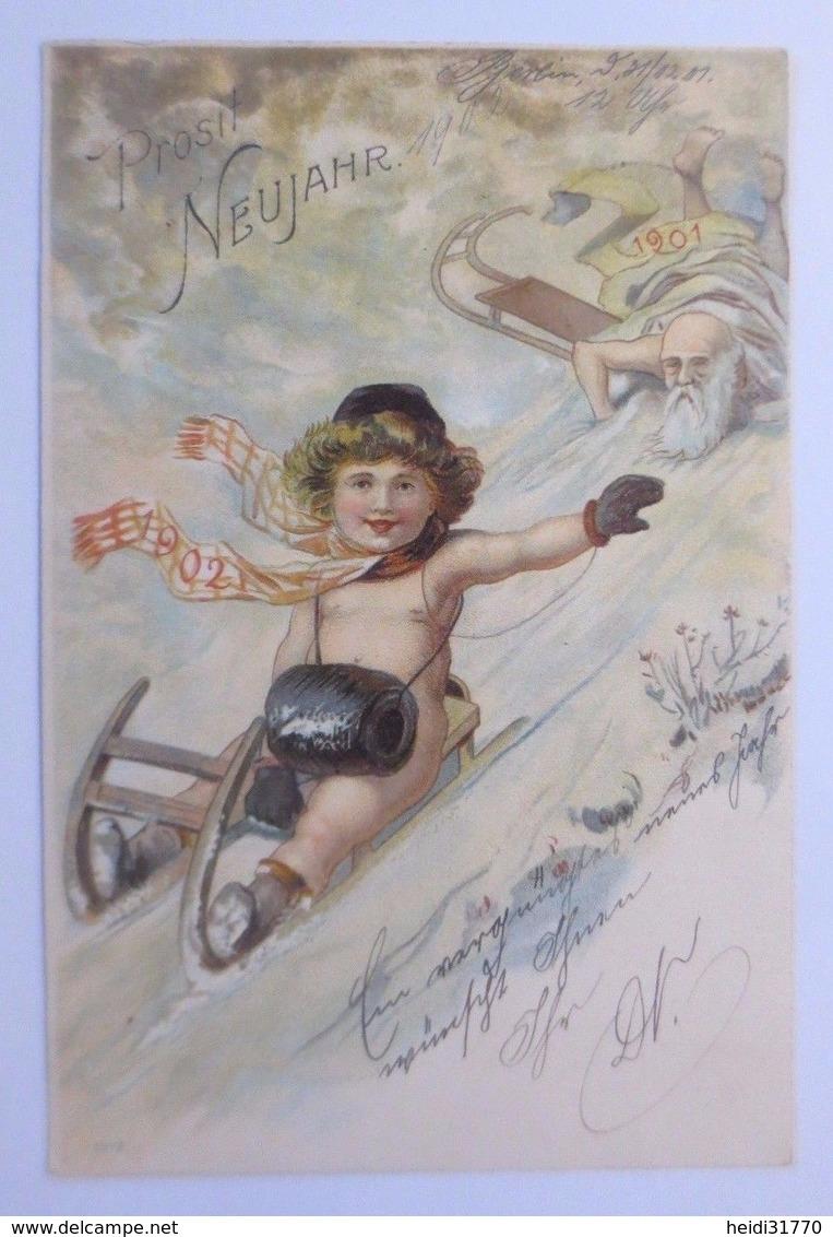 """""""Neujahr, Kinder, Schlitten, Muff, Altes Jahr Neues Jahr""""  1901 ♥  - Anno Nuovo"""