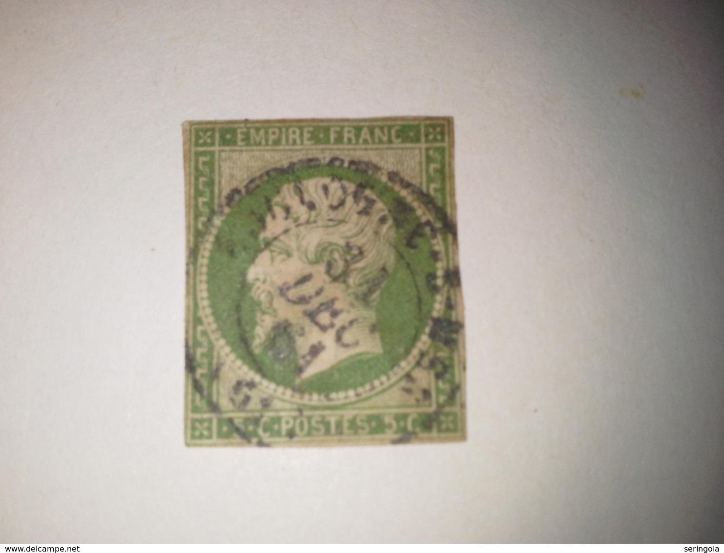 Nº12   Naaoleon III Secon Empire  5c. Vert.     Cote 70 €  Oblitere - 1853-1860 Napoléon III.