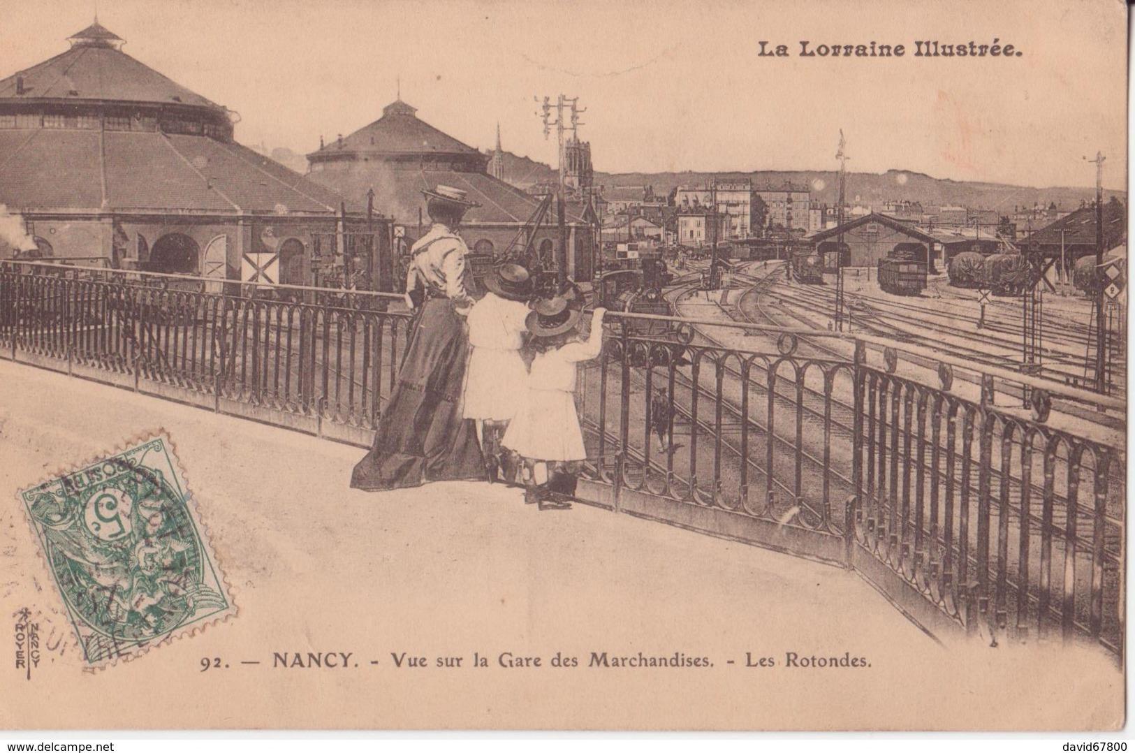 54 NANCY VUE SUR LA GARE DES MARCHANDISES LES ROTONDES TRES AMINÉES CPA BON ÉTAT - Nancy