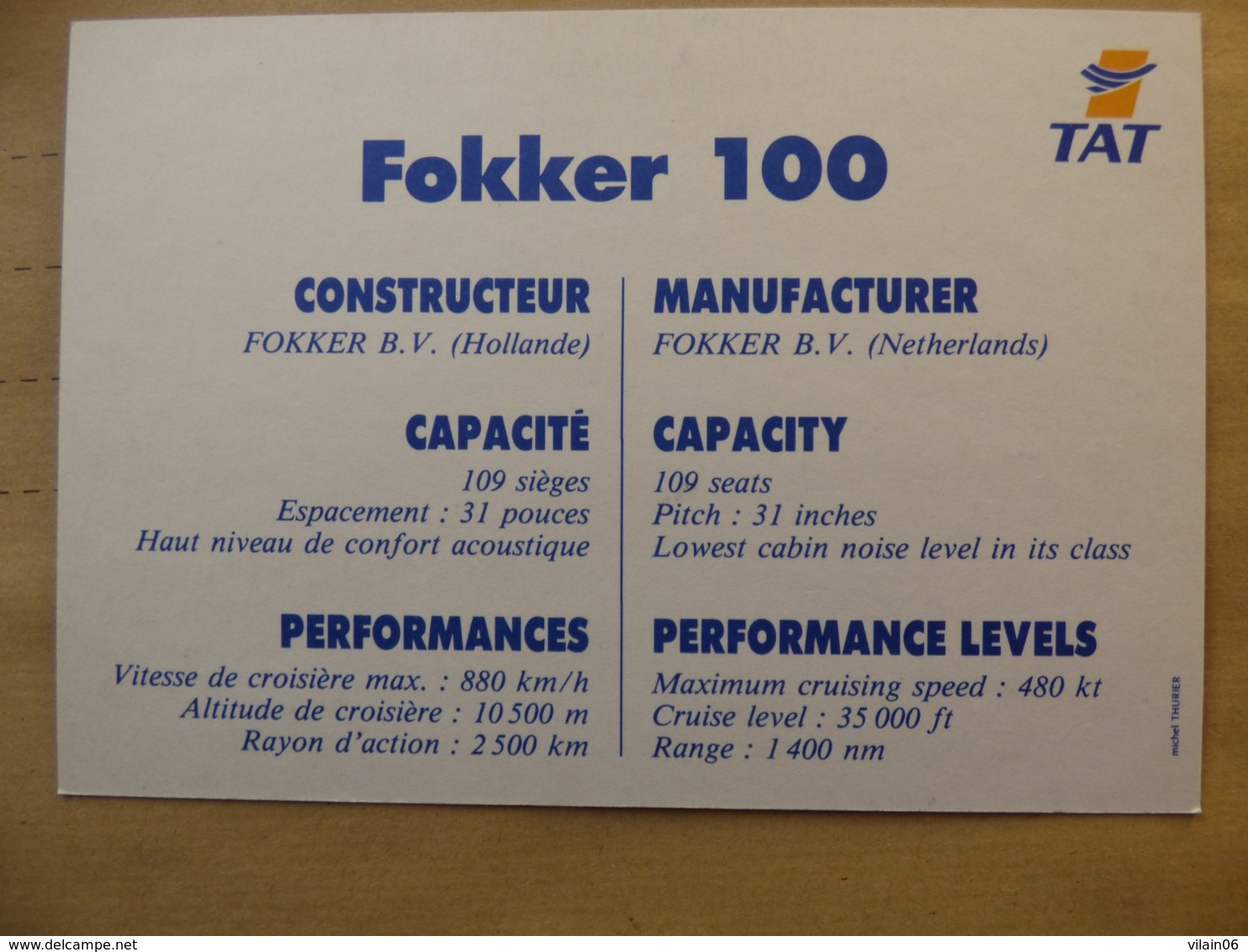 TAT  FOKKER 100    AIRLINE ISSUE / CARTE COMPAGNIE - 1946-....: Era Moderna