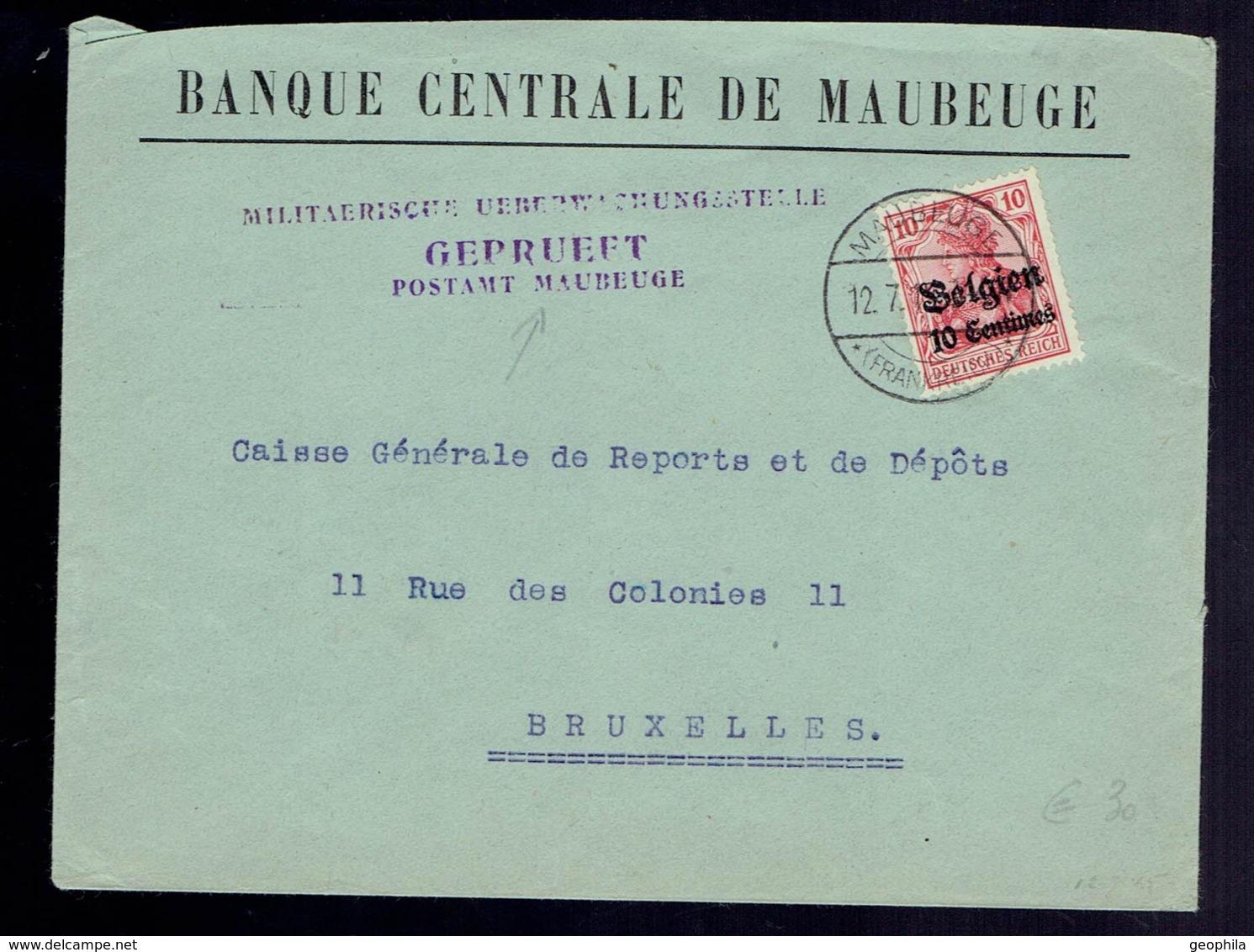 Guerre 14-18 COB OC 3 / Lsc Maubeuge  Vers Bruxelles. Censure Maubeuge - [OC1/25] General Gov.