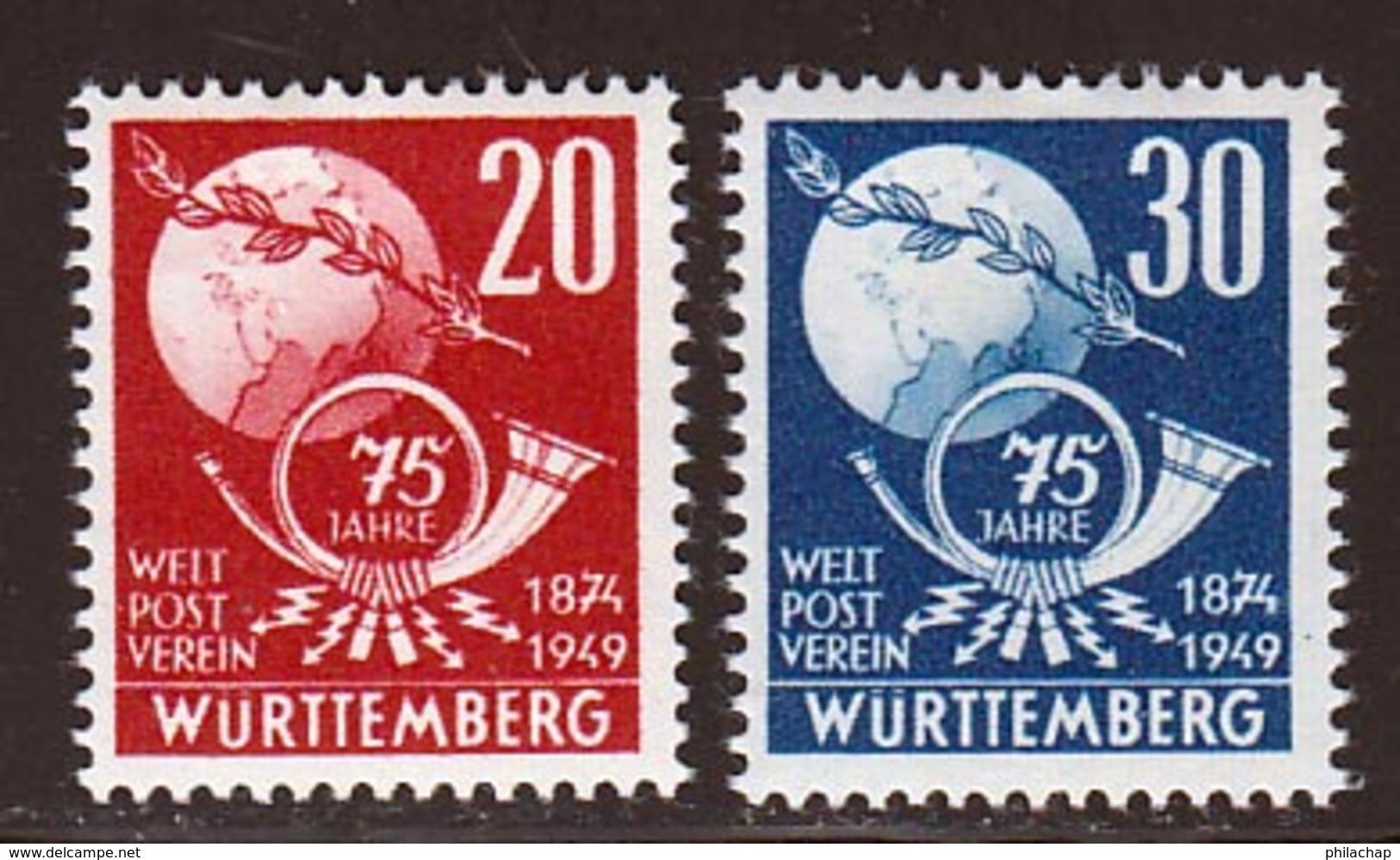 Allemagne Zone Francaise  1949 Yvert 51 / 52 * TB Charniere(s) Wurttemberg - Französische Zone