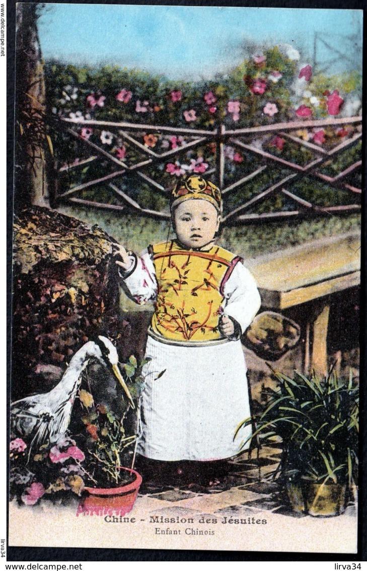 RARE CPA ANCIENNE CHINE- MISSION DES JÉSUITES- ENFANT CHINOIS DANS LE JARDIN- GROS PLAN - China