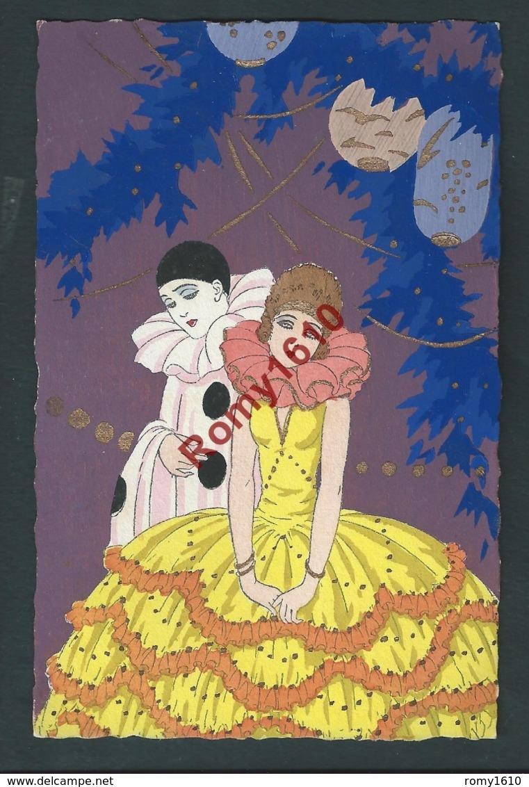 G. Meschini. Art Déco.  Série De 4 Cartes Pochoir.  Pierrot. Superbe! - Illustrateurs & Photographes