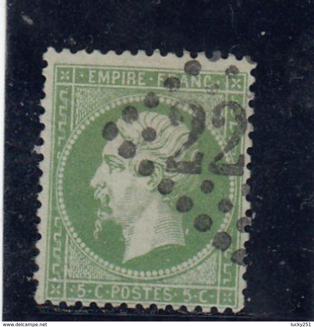 France - Napoléon III - N°Y.T 20 - 5c Vert - Oblit. Losange GC - 1862 Napoleone III