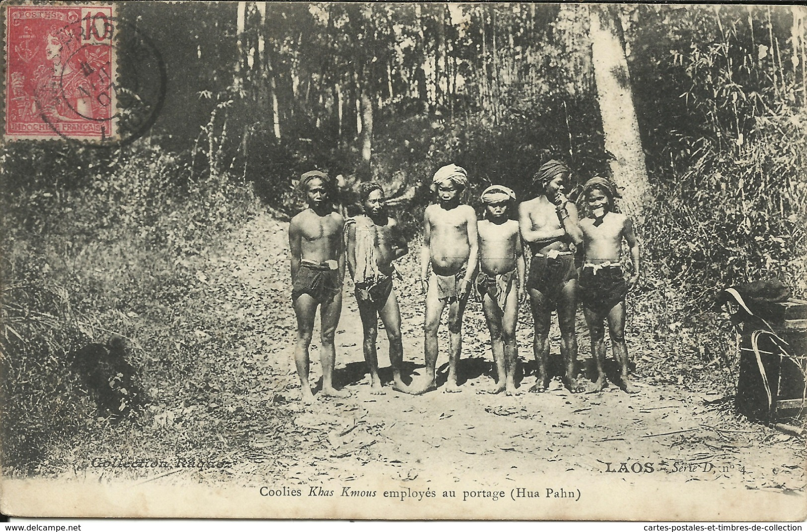 * LAOS , Coolies Khas Kmous Employés Au Portage ( Hua Pahn ) , CPA ANIMEE , 1907 - Laos