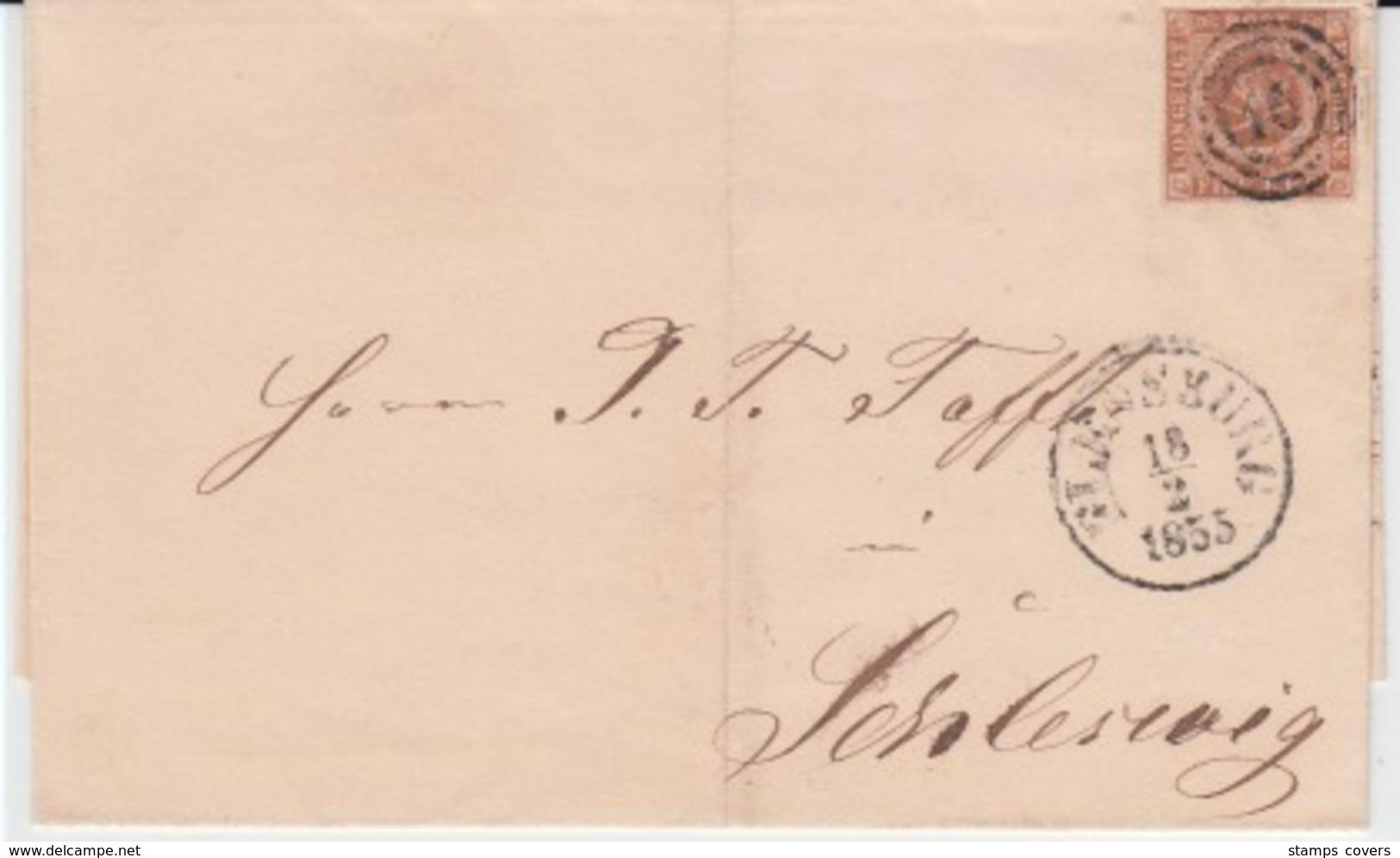DENMARK MICHEL 1 USED COVER 18/02/1855 FLENSBORG (FLENSBOURG) TO SLESVIG (SCHLESWIG)) - Covers & Documents