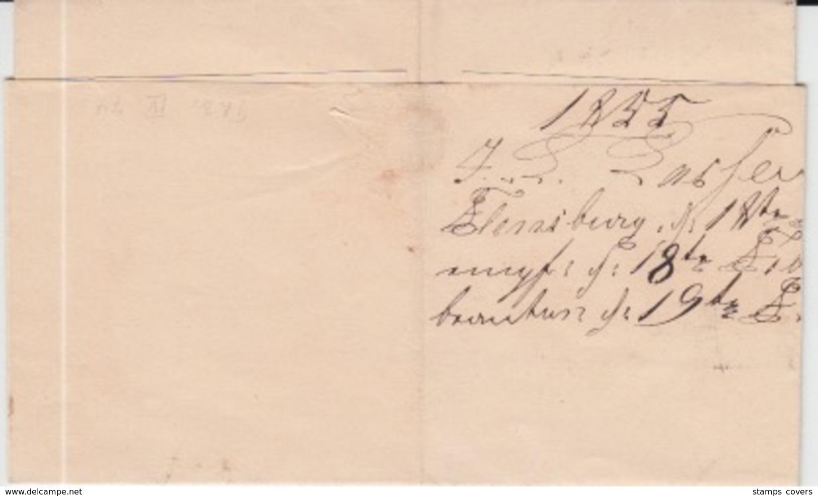 DENMARK MICHEL 1 USED COVER 18/02/1855 FLENSBORG (FLENSBOURG) TO SLESVIG (SCHLESWIG)) - 1851-63 (Frederik VII)