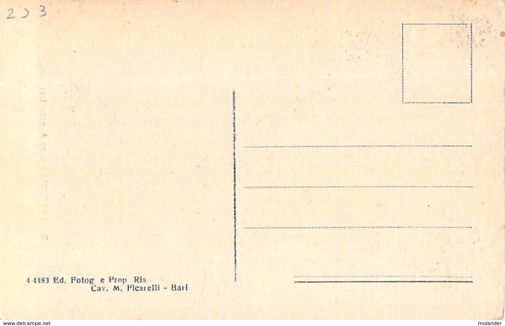 Bari -Bari Vechhia - Case Di Peacatori Old Original Italia Postcard - Bari