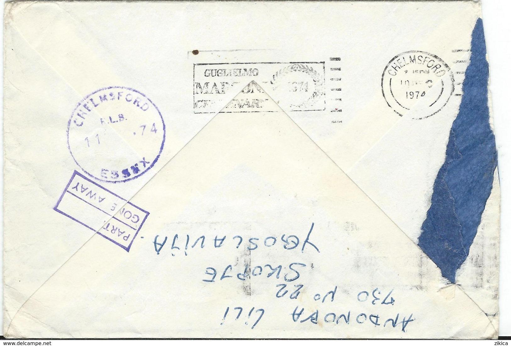 RETOUR Letter 1974 - Skopje Via Chelmsford - Briefe U. Dokumente