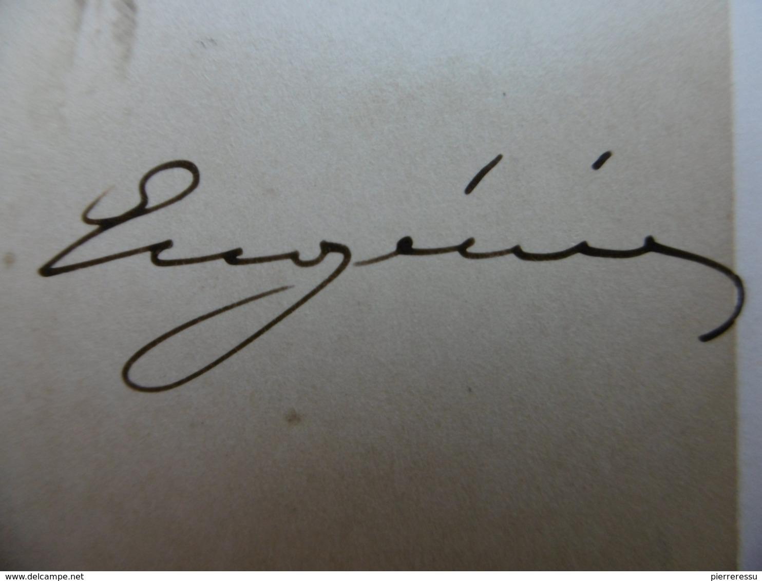 AUTOGRAPHE IMPERATRICE EUGENIE CDV LE JEUNE PHOTOGRAPHE DE S A LE PRINCE IMPERIAL - Autographs