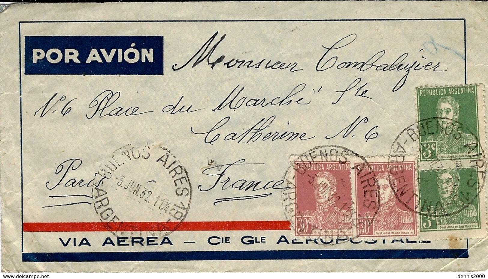 1932- AEROPOSTALE - Enveloppe De B A Affr. 0,66 Peso Pour Paris - Argentina