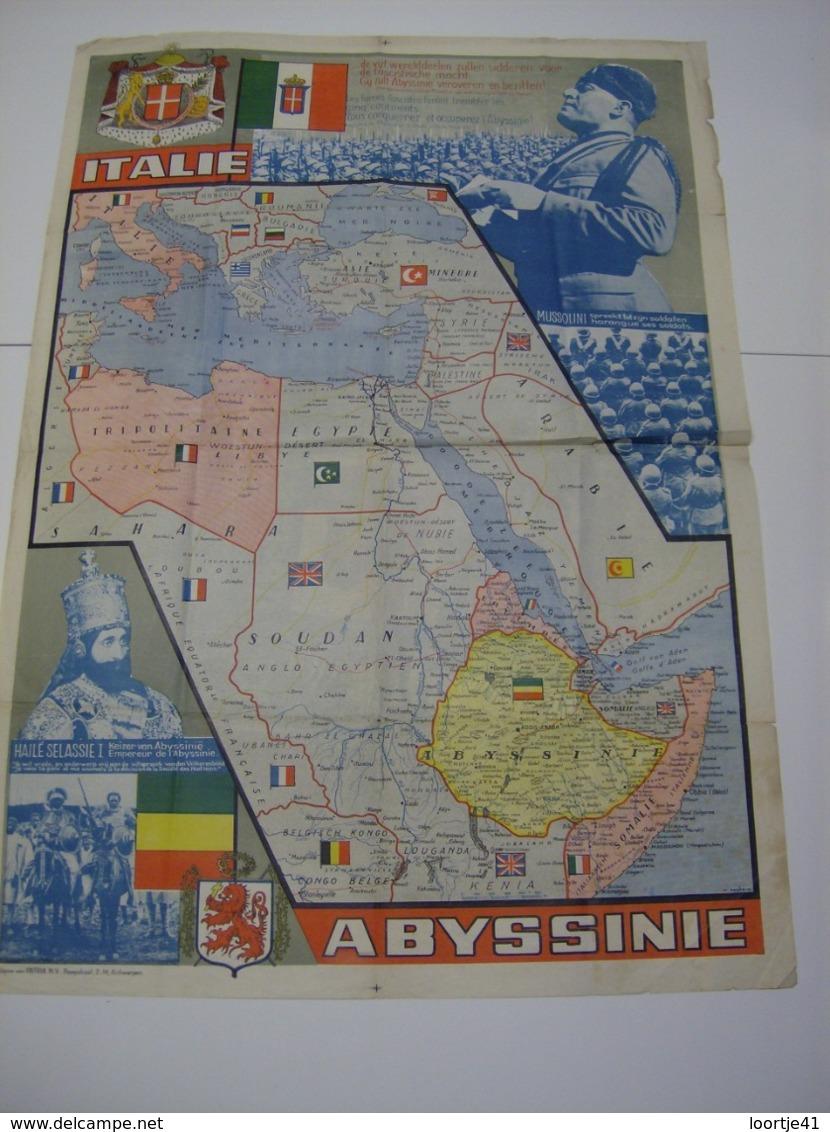 Affiche Poster Italie - Abyssinie - Mussolini - Keizer Hailé Selassie - Uitgave Patria Antwerpen - Affiches
