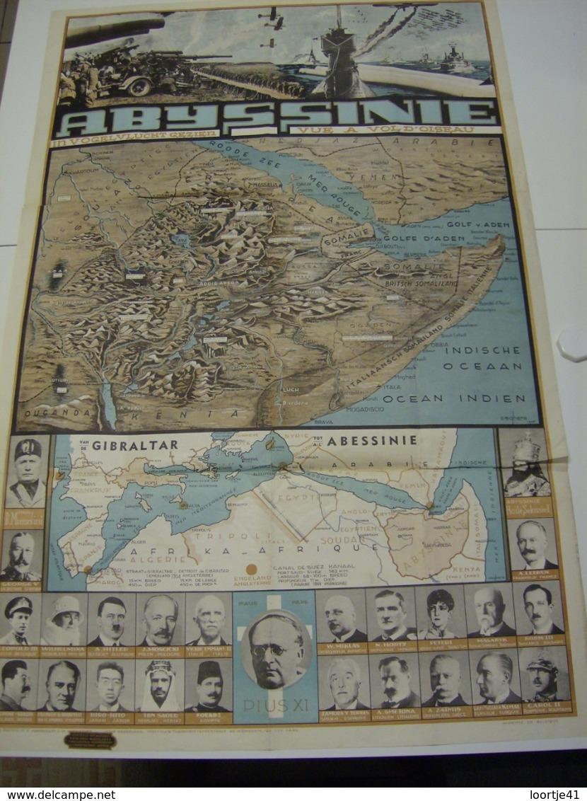 Affiche Poster - Abyssinie Kaart - Mussolini , Hitler,  Keizer Hailé Selassie , Paus Pius XI - Uitgave Patria Antwerpen - Affiches
