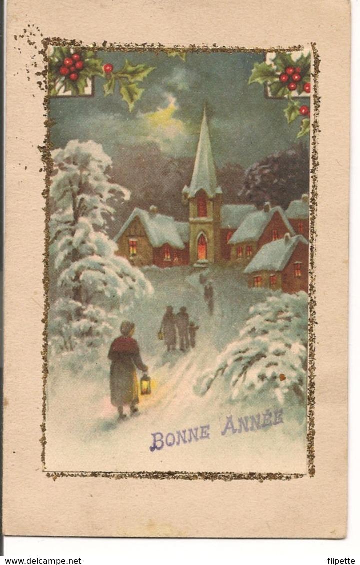 L60b089 - Bonne Année - Départ Pour La Messe De Minuit, Village Sous La Neige - - New Year