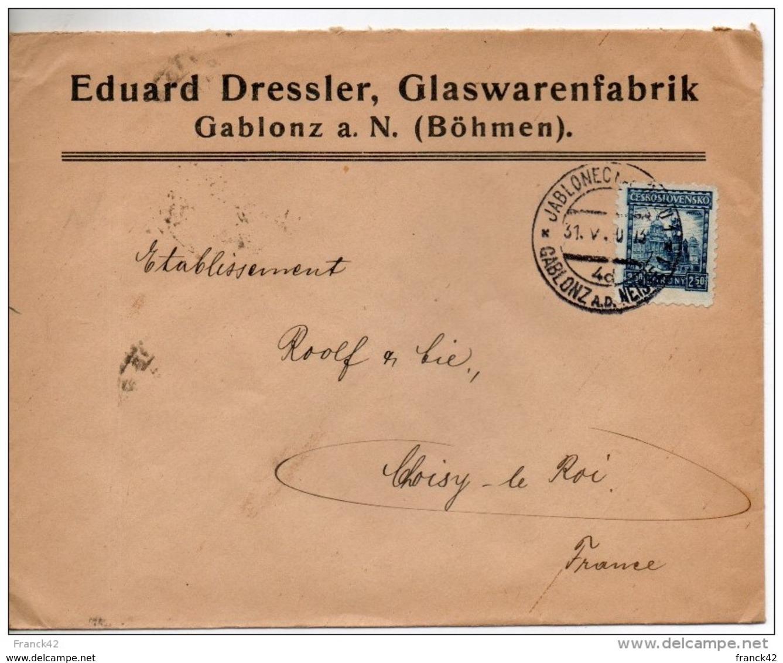Boheme. Enveloppe. Eduard Dressler, Glaswarenfabrik. Gablonz A. N. - Briefe U. Dokumente