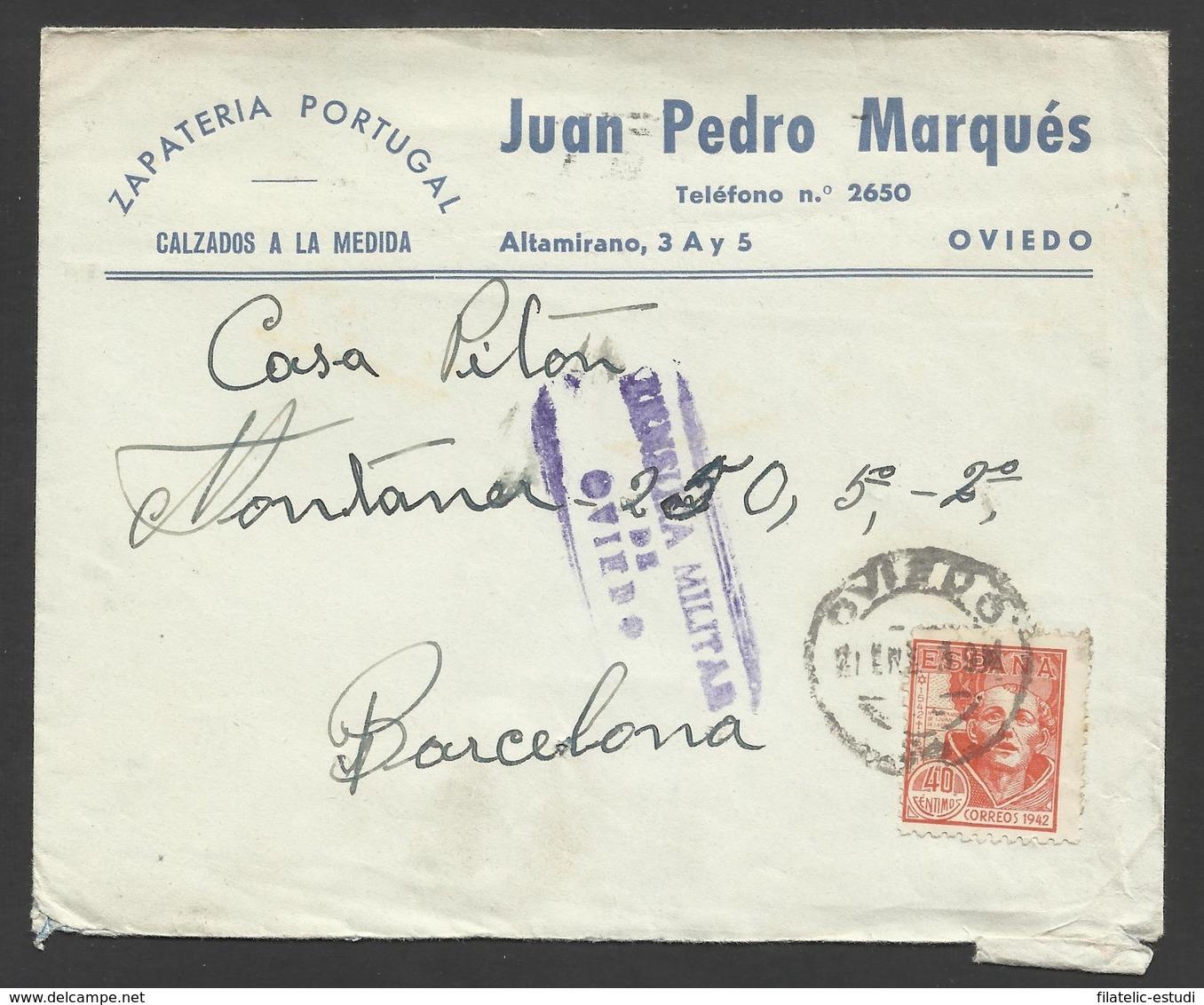 España Carta De Oviedo A Barcelona 1939 Marca Censura Oviedo - Cartoline
