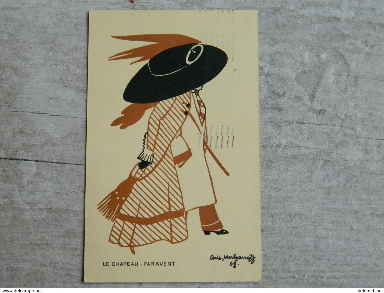 LE CHAPEAU PARAVENT ILLUSTRATEUR MODE         ARIS MERTZANOFF  ENVOYEE DE LIEGE - Künstlerkarten
