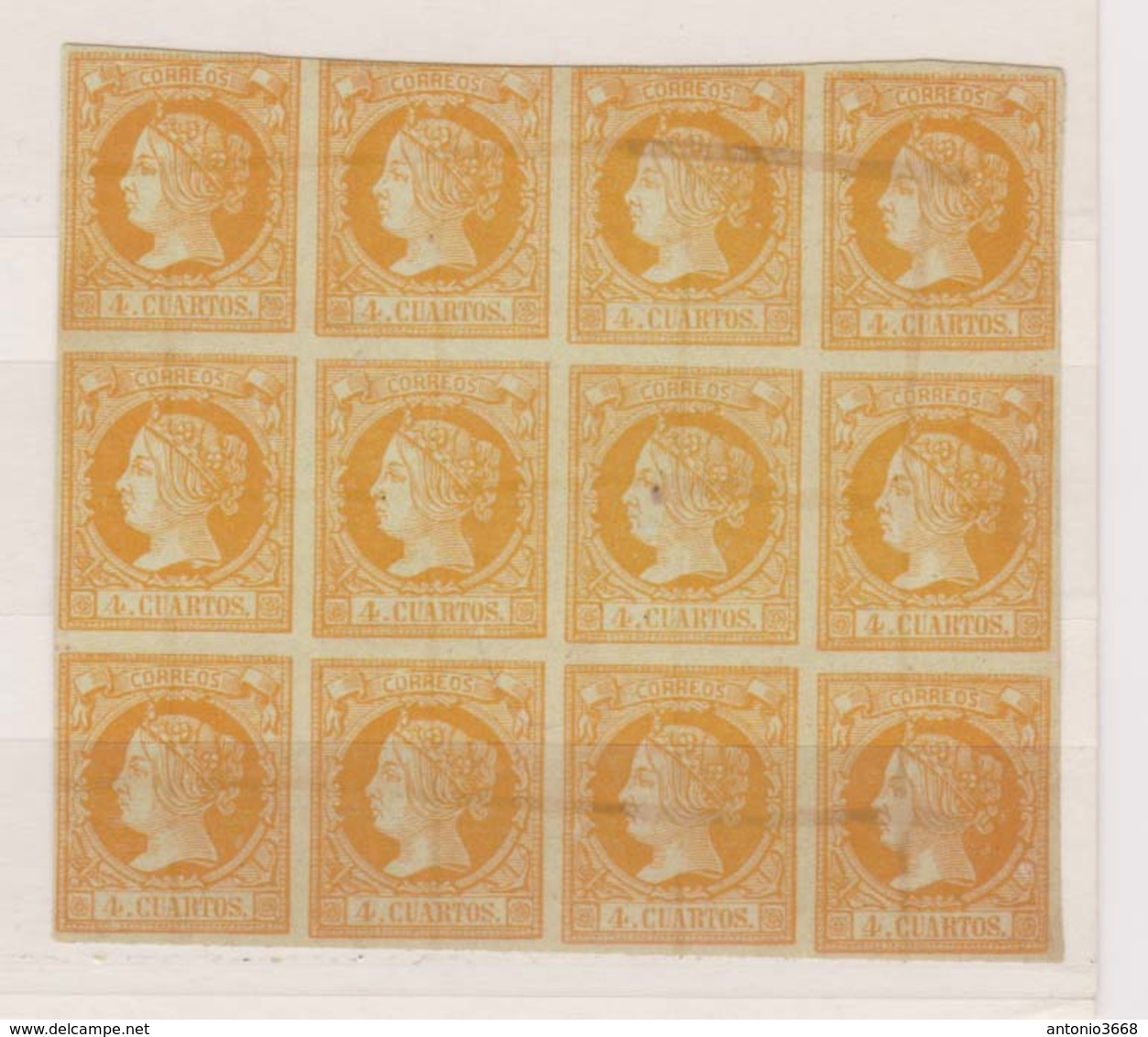 Año 1860 Edifil 52 Sello 4c Isabel II Bloque De 12 Sellos Tachado Con Tinta - 1850-68 Kingdom: Isabella II