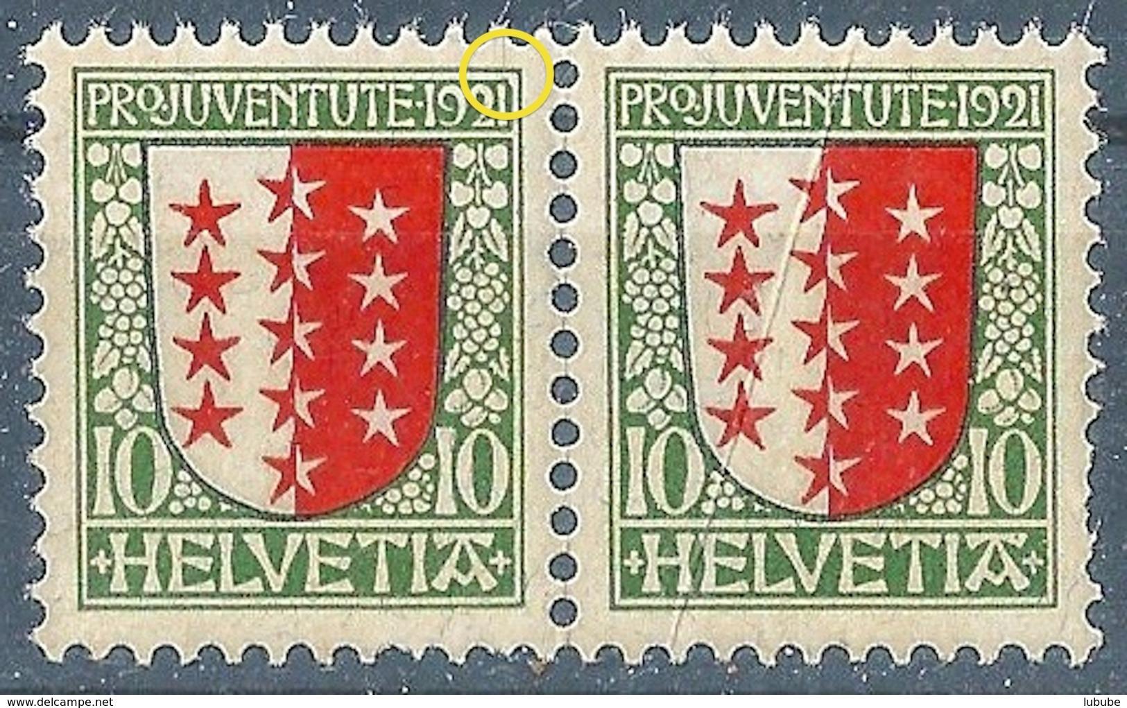 Wappen Kanton Wallis J18, 10 Rp.mehrfarbig  PAAR           1921 - Nuovi