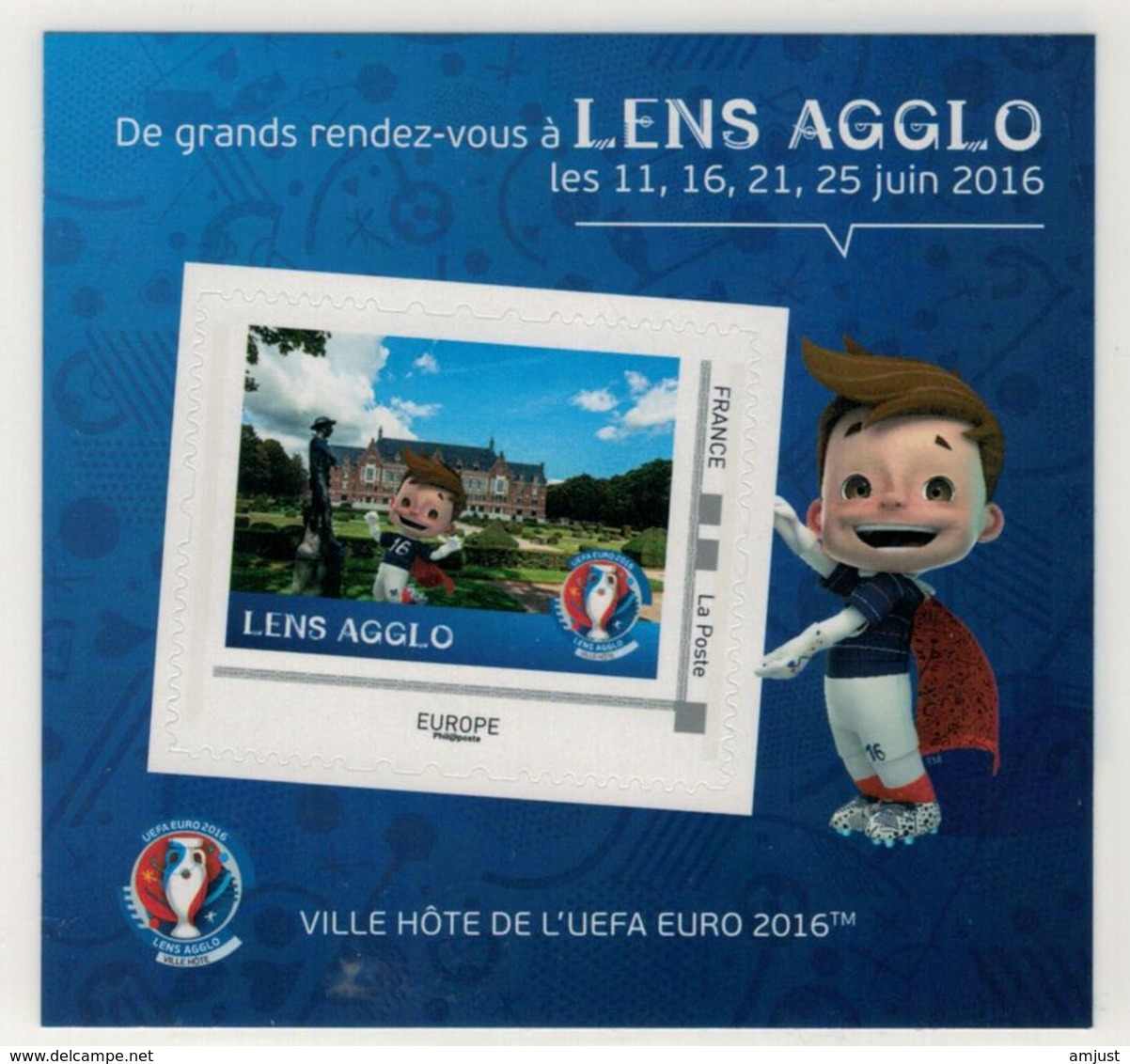 """Mini Collector De 2016 Avec Timbre Adhésif """"LENS AGGLO - UEFA EURO 2016 - France"""