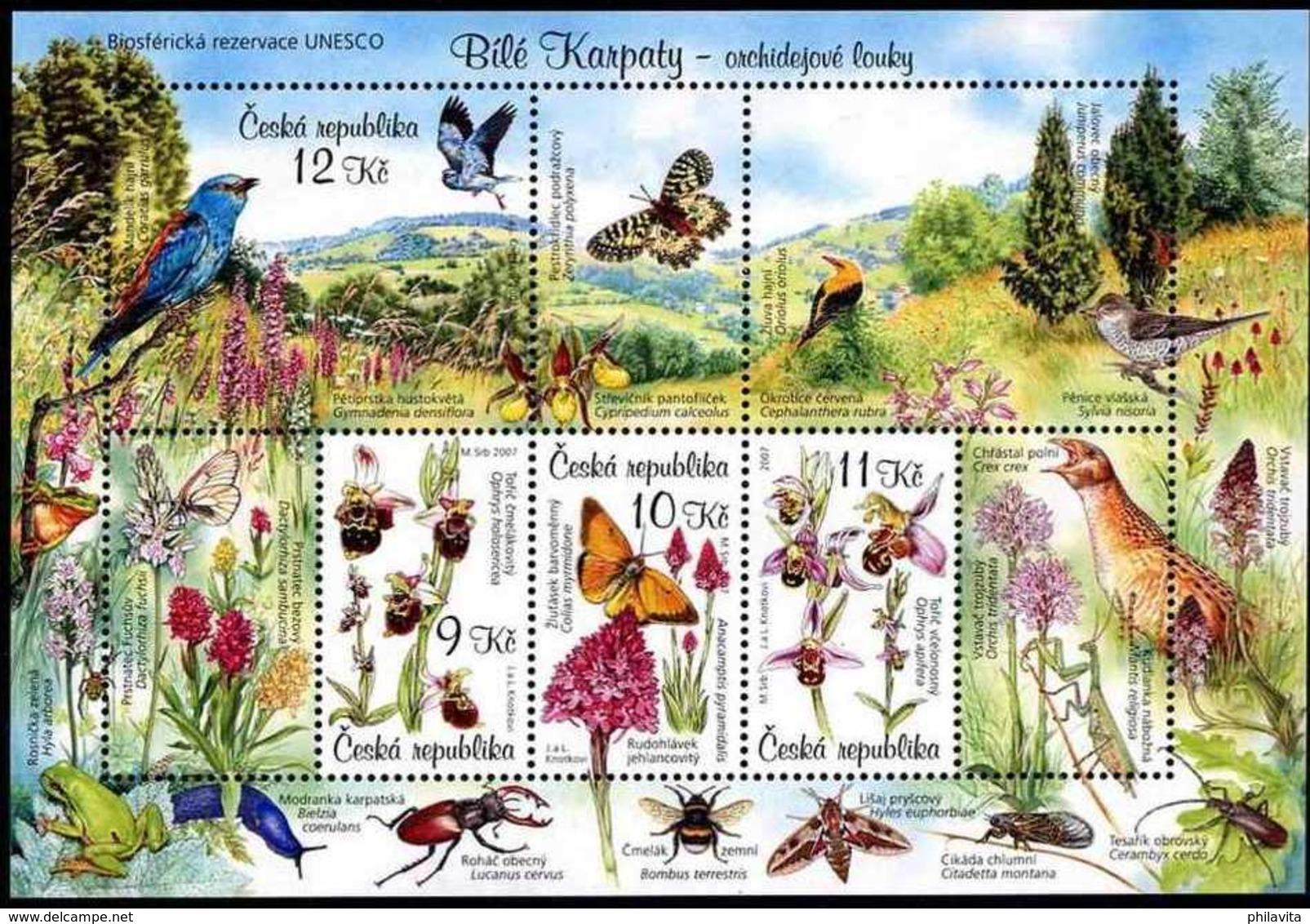 2007 Czech  Biosphere Reserve UNESCO Bile Karpaty - MNH ** Mi B 28 Songbirds, Butterfly, Flowers, Orchids - Repubblica Ceca