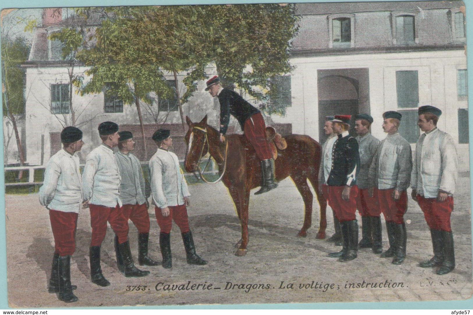 CPA:  Régiment De Cavalerie-Dragons :     La Voltige,  Instruction.   (E2788) - Regiments