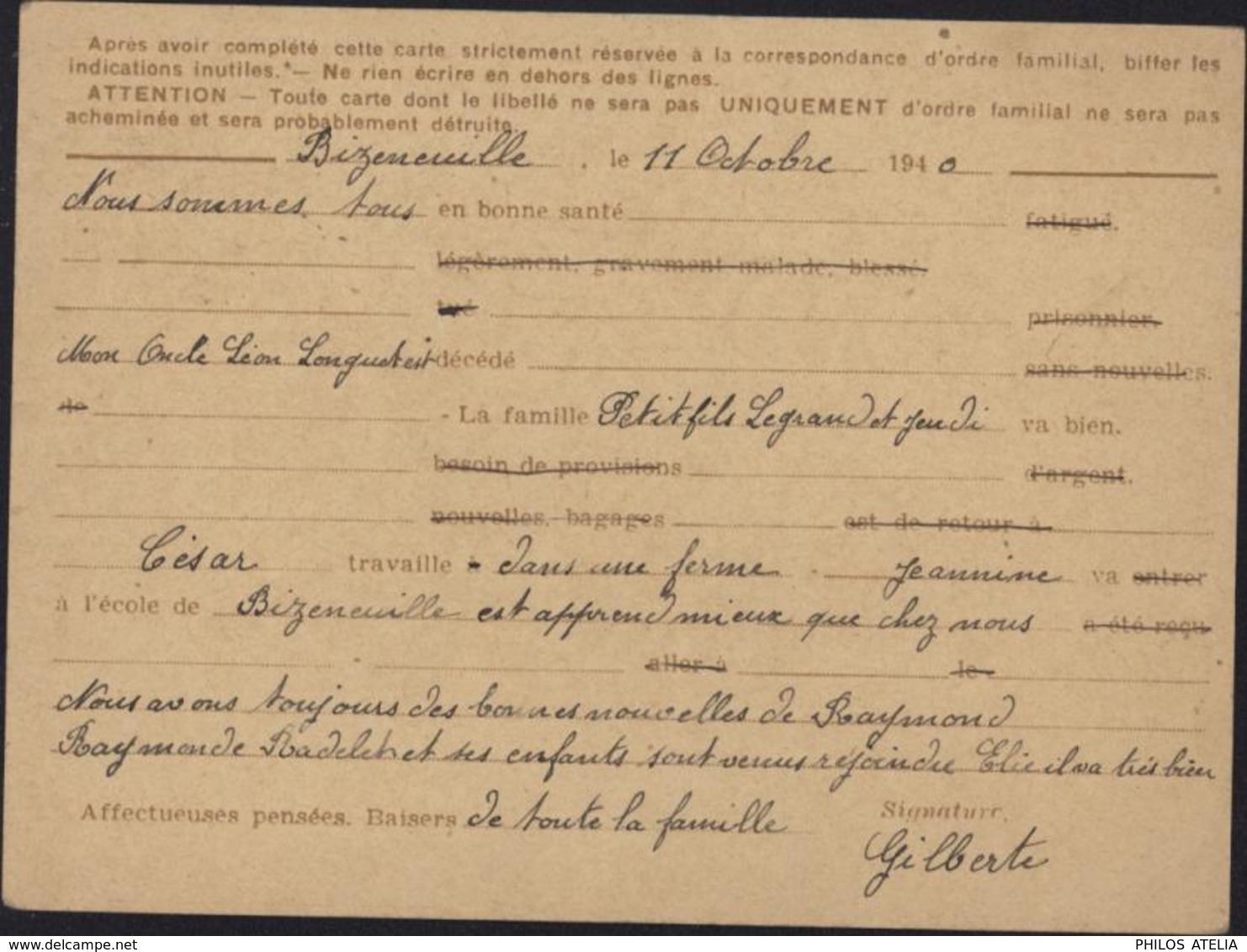 Entier Iris Carte Postale Interzone Valeur 0.9 Emise Par Réfugié CAD Perlé Bizeneuille 12 10 40 Guerre 39 45 - Marcophilie (Lettres)