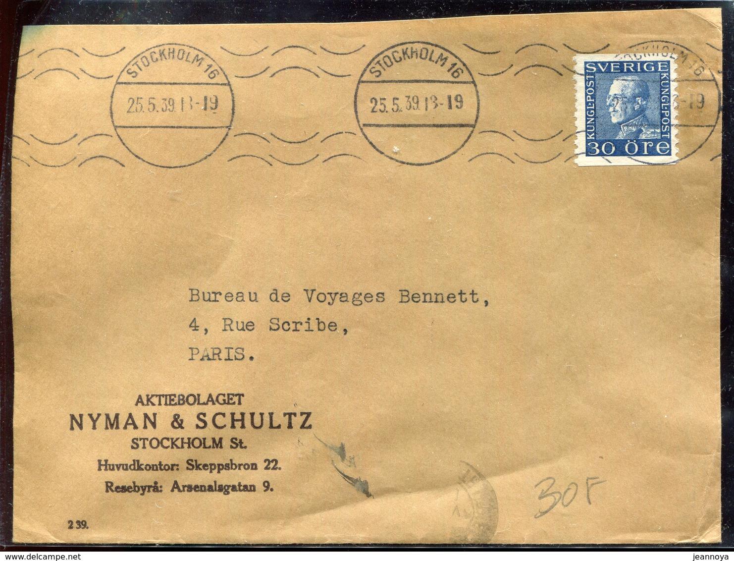 SUEDE - N° 215 / LETTRE AVEC O.M. DE STOCKHOLM LE 25/5/39 POUR PARIS - TB - Svezia