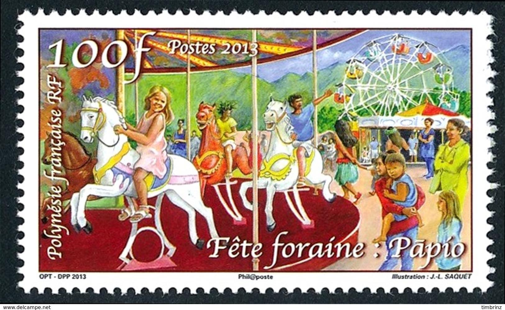 POLYNESIE 2013 - Yv. 1033 **   Faciale= 0,84 EUR - Heiva. Fête Foraine. Maneige De Chevaux De Bois  ..Réf.POL24951 - Polynésie Française