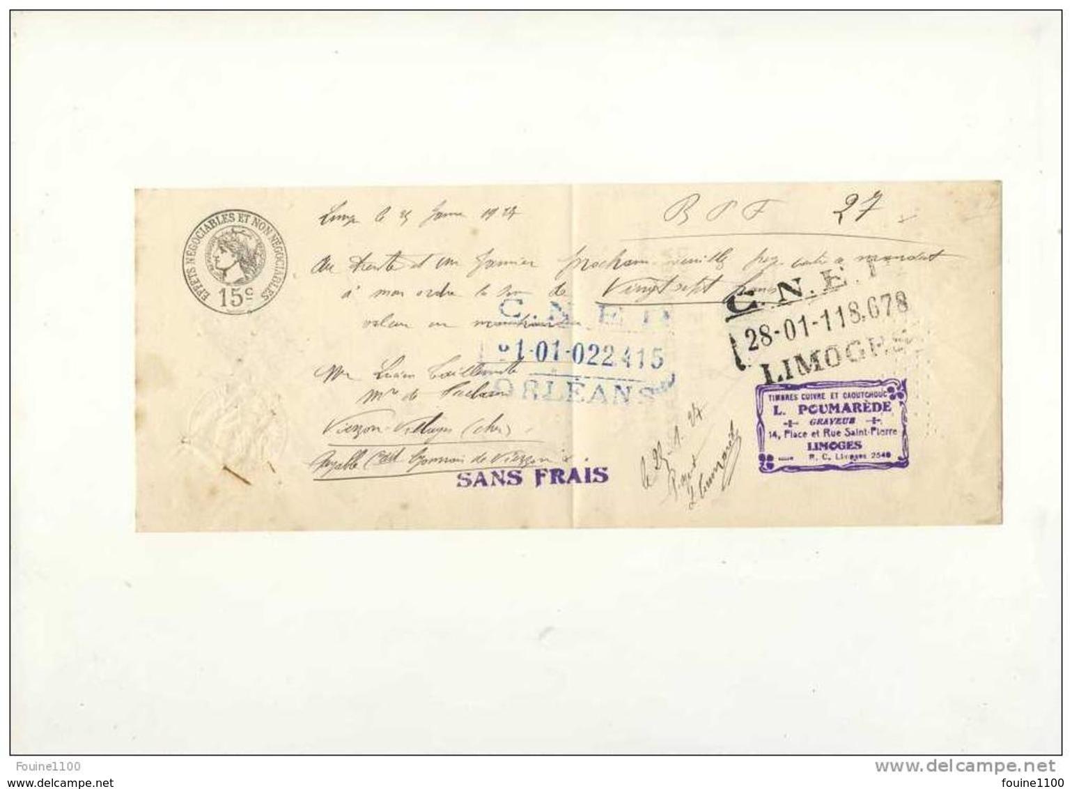 MANDAT Timbres Cuivre Et Caoutchouc POUMAREDE Graveur 14 Place Et Rue Saint Pierre à LIMOGES 1927 - Lettres De Change