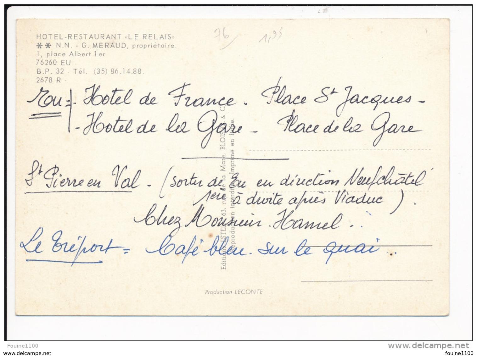 Carte ( Format 15 X 10 Cm )  De Eu  Hôtel Restaurant Le Relais G Meraud Propriétaire ( Recto Verso ) - Eu
