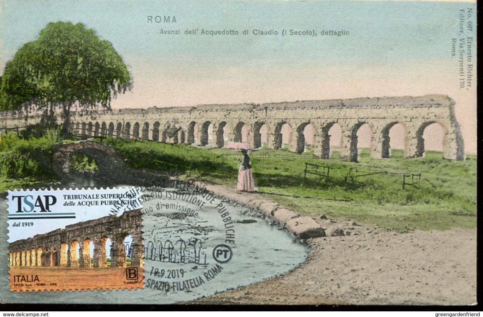 49284 Italia Maximum Card 2019 Showing The Aqueduct Of Claudius Of Rome, Archeology, Aquädukt (vintage Card) - Cartoline Maximum