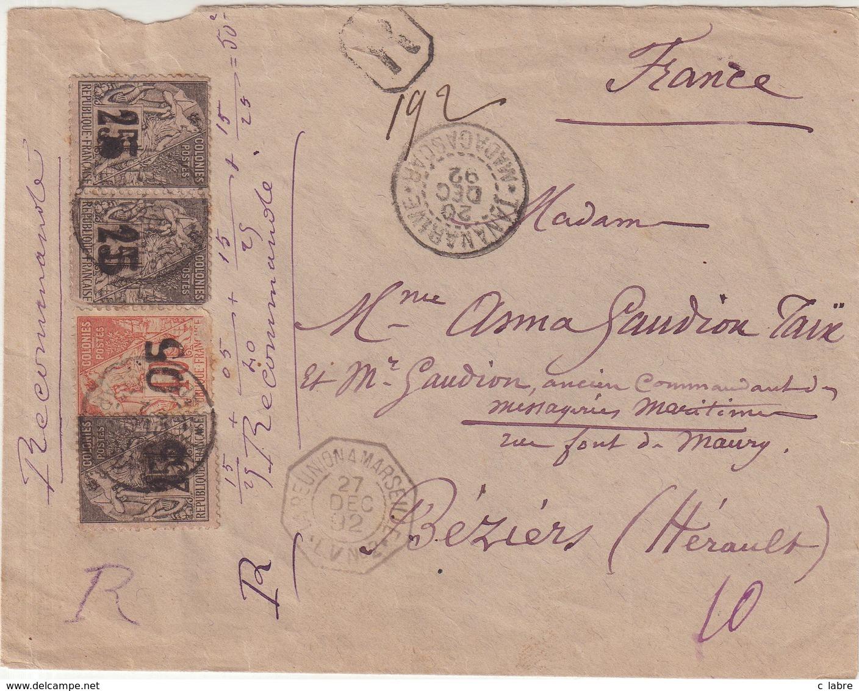 MADAGASCAR : N° 4 Et N° 5 ( 3 EX ) . LETTRE RECOMMANDEE . AFFrt à 50 Cts . POUR LA FRANCE . QQS DEFAUTS . RARE . 1892 . - Madagascar (1889-1960)