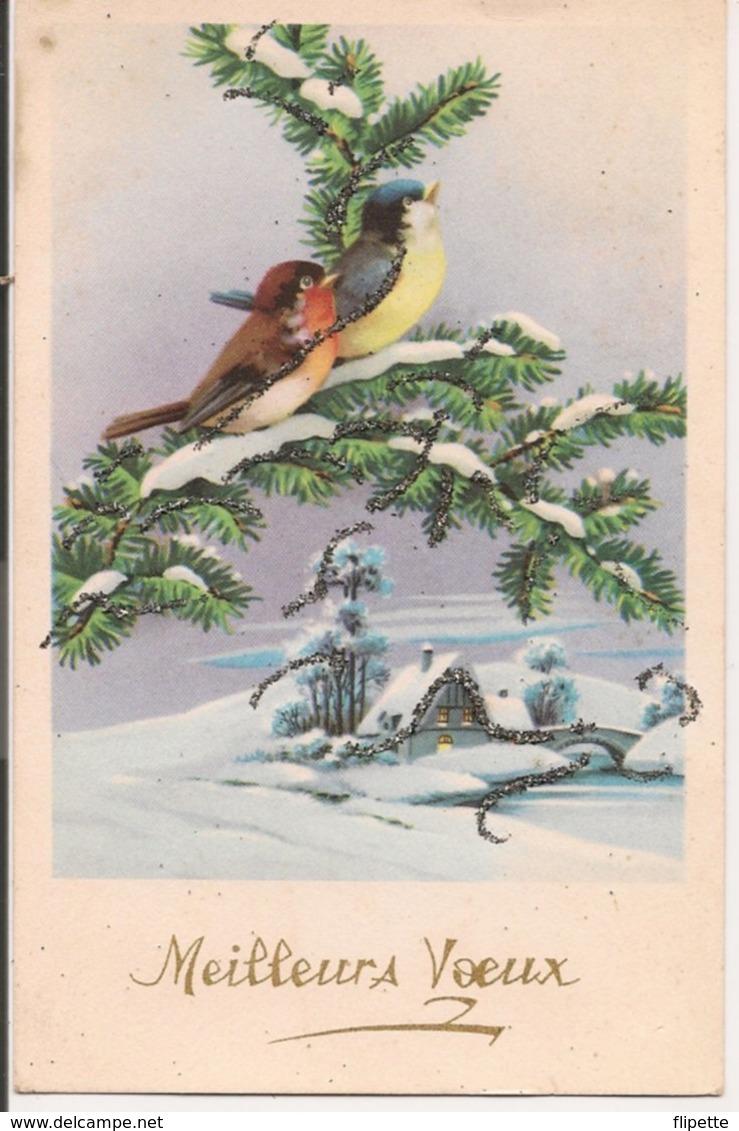 L60b099 - Bonne Année - Oiseaux Sur Une Branche De Sapin - Paillettes    - Univers N°218 - New Year